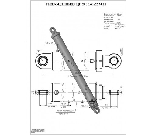 Гидроцилиндр подъёма стрелы ЦГ-200.160 х2275.11 (КС-55713-3.63.400-2-01)
